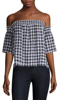 Rails Women's Isabelle Gingham Plaid Top - Black Gingham - Size Medium