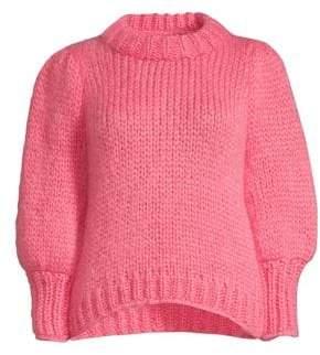Ganni Women's Julliard Wool-Blend Puff Sleeve Sweater - Hot Pink - Size S
