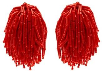 Vanda Jacintho - Shower Beaded Clip On Earrings - Womens - Orange