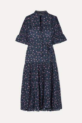 Apiece Apart Los Altos Tie-waist Floral-print Voile Midi Dress - Navy