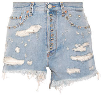 Gucci Embellished Distressed Denim Shorts - Light denim