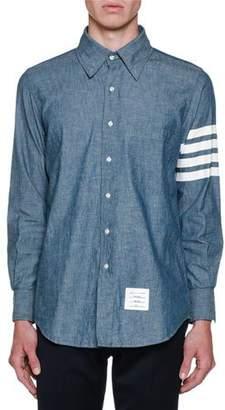 Thom Browne Men's Chambray Long-Sleeve Shirt