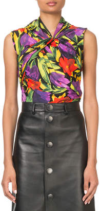 Balenciaga Sleeveless Painted Pansy Twist-Neck Top
