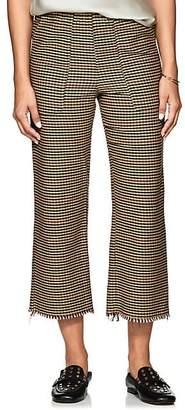 Raquel Allegra Women's Checked Cotton Crop Trousers - Brown