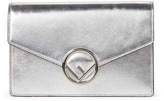 Fendi Silver Metallic Leather Wallet Crossbody
