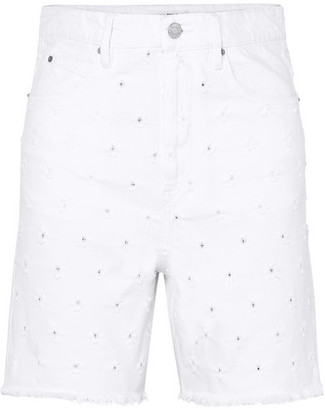 Etoile Isabel Marant Liny Distressed Denim Shorts - White