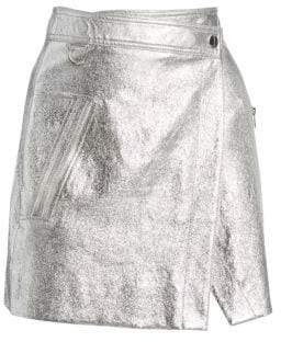 Derek Lam 10 Crosby Women's Metallic Leather Wrap Mini Skirt - Silver - Size 4