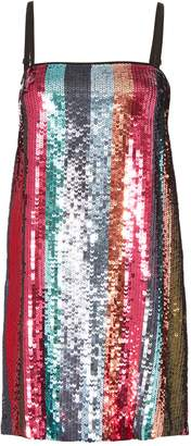 Tanya Taylor Erykah Sequin-Striped Mini Dress