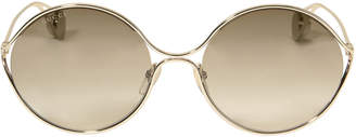 Gucci Oval Frame Pearl Temple Sunglasses
