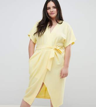 Closet London Plus Short Sleeve Tie Front Dress