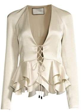 Alexis Women's Reagan Lace-Up Ruffle Peplum Top - Alabaster - Size Small