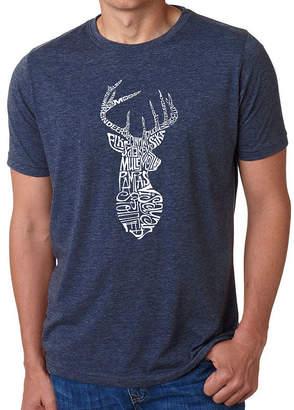 LOS ANGELES POP ART Los Angeles Pop Art Men's Big & Tall Premium Blend Word Art T-Shirt - Types of Deer