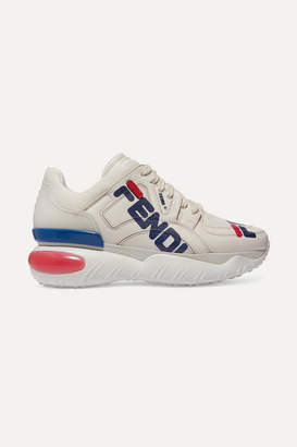 Fendi Logo-print Leather And Rubber Sneakers - White