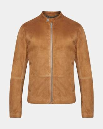 Theory Suede Banded-Collar Jacket