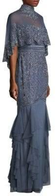 Aidan Mattox Women's Capelet Floor-Length Dress - Blue Grey - Size 2