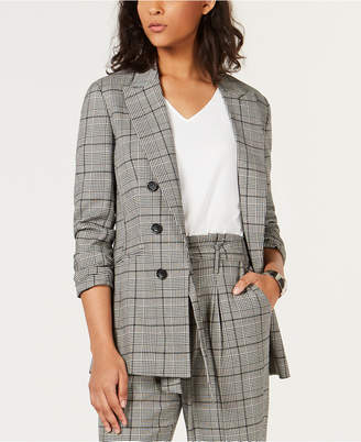Bar III Plaid Faux-Double-Breasted Jacket