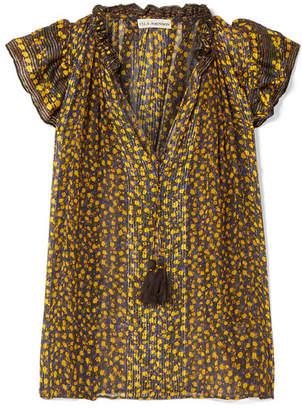 Ulla Johnson Doria Metallic Floral-print Silk-blend Georgette Top - Black