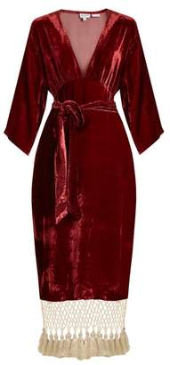 Rhode Resort - Leonard Tassel Hem Velvet Dress - Womens - Burgundy