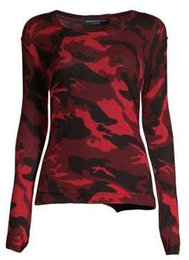 Generation Love Women's Abigail Camo Cashmere Sweater - Red Camo - Size Small