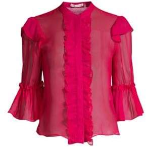 Alice + Olivia Women's Odele Trumpet Sleeve Blouse - Raspberry - Size Small