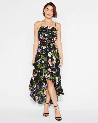 Express Floral Ruffle Wrap Maxi Dress