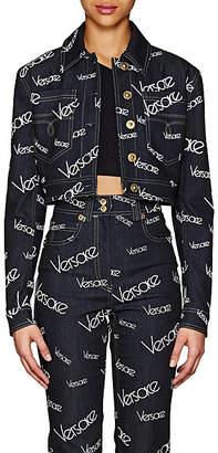 Versace Women's Logo Mania Denim Crop Jacket - Dk. Blue