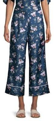 Rebecca Taylor Women's Emilia Wide-Leg Silk Pants - Teal Multi - Size 8