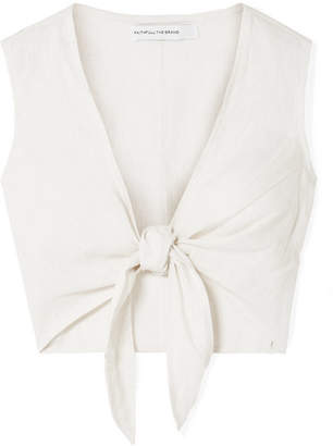 Faithfull The Brand Marcie Cropped Tie-front Linen Top - Ecru