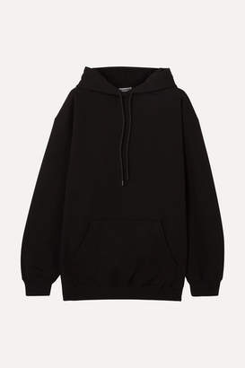 Balenciaga Oversized Printed Cotton-jersey Hoodie - Black