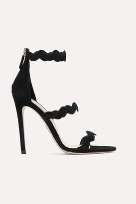 Prada Scalloped Suede Sandals - Black