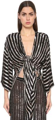 Temperley London Sequined Stripes Kimono Top