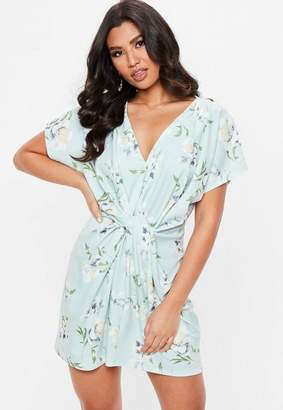 Missguided Blue Knot Front Floral Dress