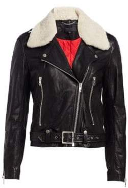 Rag & Bone Rag& Bone Women's Mackenzie Shearling Collar Leather Moto Jacket - Black - Size 6