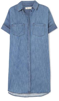 Madewell Courier Cotton And Linen-blend Chambray Shirt Dress - Blue