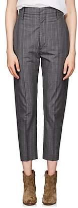 Etoile Isabel Marant Women's Noah Checked Cotton-Blend Crop Trousers - Gray