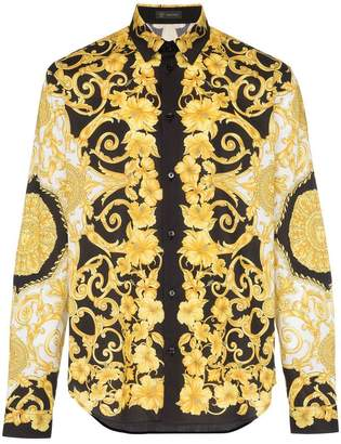 Versace baroque print cotton shirt