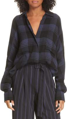 Vince Heathered Plaid Top