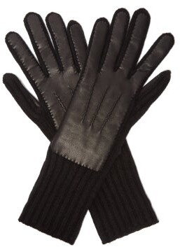Burberry Cashmere And Leather Gloves - Womens - Black
