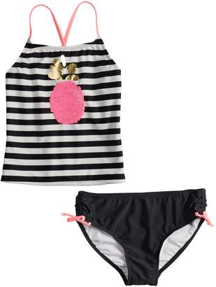 So Girls 4-16 SO Flip Sequin Pineapple Striped Tankini Top & Bottoms Swimsuit Set