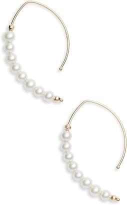 Mizuki Pearl Marquis Hoop Earrings