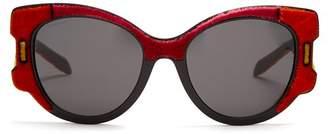 Prada Velvet Covered Cat Eye Sunglasses - Womens - Red Multi