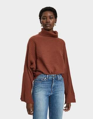 Joie Farrow Rib Knit Turtleneck Sweater in Copper