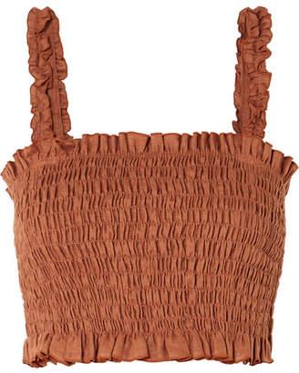 Faithfull The Brand Tijana Smocked Linen Cropped Top - Brown