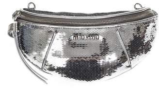 Miu Miu Silver Color Sequined Belt Bag