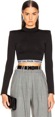 Balmain Logo Band Crop Top in Black & White | FWRD