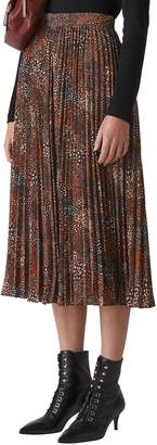 Whistles Abstract Animal Print Pleated Midi Skirt