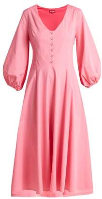 Staud - Veronica Cotton Poplin Midi Dress - Womens - Pink