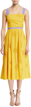 Carolina Herrera Eyelet-Embroidered A-Line Dress with Contrast Trim