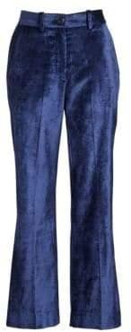 Rag & Bone Rag& Bone Women's Libby Velvet Cropped Flared Pants - Denim Blue - Size 2