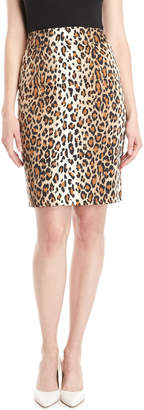 Carolina Herrera Leopard Print Pencil Skirt